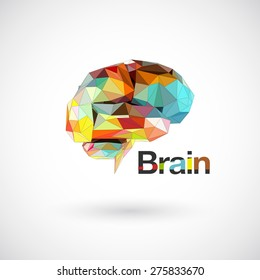 Colorful brain low polygon, Idea concept background design for poster flyer cover brochure, business idea.