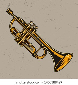 Colorful brass trumpet concept in vintage style isolated vector illustration