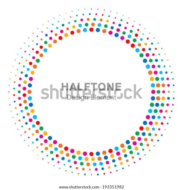 カラフルな明るい抽象的ハーフトーンロゴデザインエレメント、ベクターイラスト