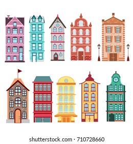 Colorful and bright Amsterdam, dutch city s houses set on white background Vector illustration in flat style.