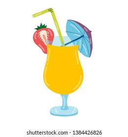 Colorful, bright, cartoon vector illustration. Orange alcohol cocktail garnished with strawberry, little drink umbrella and straw. Concept for invitation, poster, menu, flyer, leaflet.