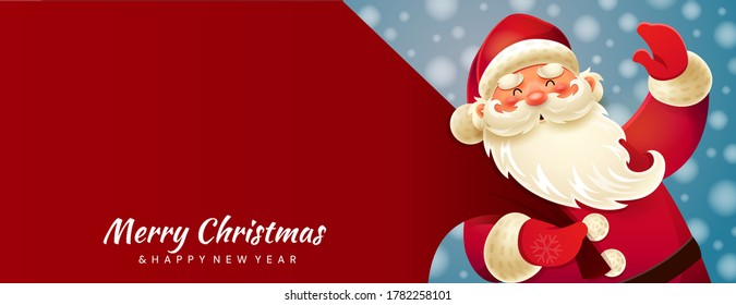 Colorful bright Christmas greeting card. Santa Claus with a huge bag delivering gifts at snow fall. Merry Christmas and Happy New Year text. Seasonal Christmas poster with, colored vector illustration