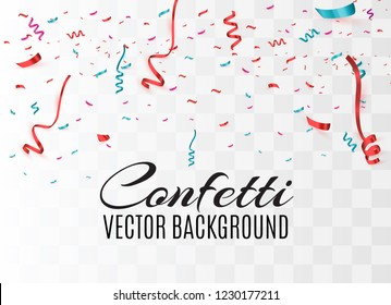 Colorful bright confetti isolated on transparent background. Festive vector illustration. Colorful confetti on a beautiful background. Celebration and party.