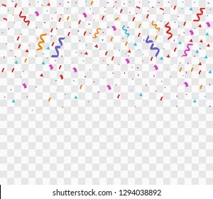 Colorful bright confetti isolated on transparent background. Festive vector illustration.