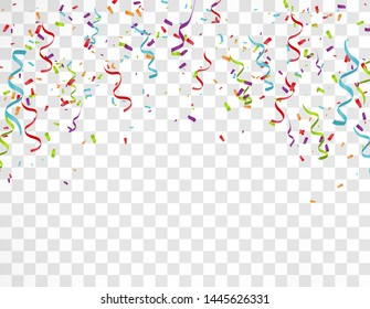 Colorful Bright Confetti Isolated on Transparent Background. Holiday Decorative Falling Shiny Confetti. Vector Illustration