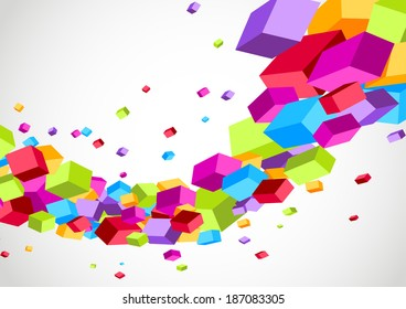 Colorful bright cubes fly wave perspective view. Vector illustration
