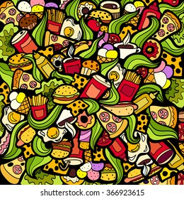 Colorful bright Doodle background Fastfood theme abstract. Creative fast food pattern wallpaper.