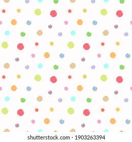 Colorful bright dots pattern and background design. Seamless vector illustration.
