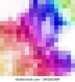 Colorful Bright Geometric Background. Pixel art Grid Mosaic