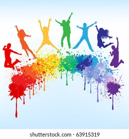 Colorful bright ink splashes and kids jumping on blue background