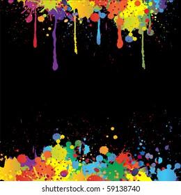 Colorful bright ink splashes on black background