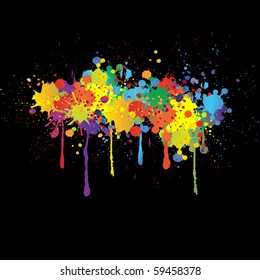 Colorful bright ink splashes on black background