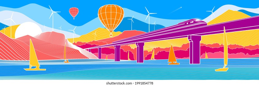 Colorful bright mountain landscape. Infrastructure and transport illustration. Balloons are flying. Train rides on bridge. Boats on the water. White outline on color background. Vector design art