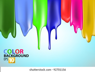 Colorful bright paint splashes on blue background