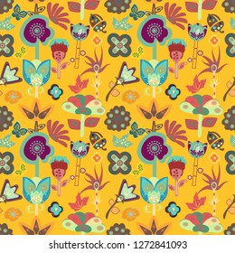 colorful bright seamless floral tile with whimsical flowers and botanical design elements for textile, fabric, cards, wallpapers, backgrounds, backdrops and beautiful surface designs.