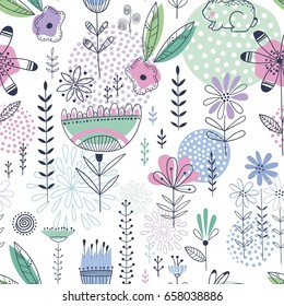 Colorful and bright seamless vector floral pattern with cute little rabbits