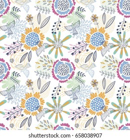 Colorful and bright seamless vector floral pattern
