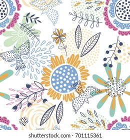 Colorful and bright seamless vector floral pattern with flying birds
