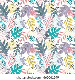 Colorful and bright seamless vector pattern with leaves