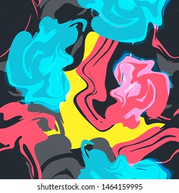 Colorful bright vector seamless abstract patern with splashes. For textile, wallpaper, covers and print