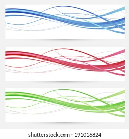Colorful bright web headers lines collection. Vector illustration