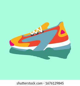 Colorful bright yellow pink blue orange sneakers. Vector flat illustration. Simple illustration of fitness and sport, gym shoe. Sign shop graphics