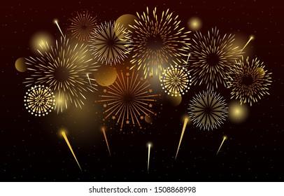 Farbenfrohe, schöne Feuerwerke Abstrakter Hintergrund, Vektorgrafik