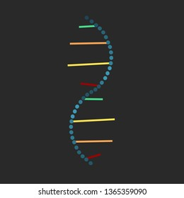 Colorful broken chain of dna isolated on dark background vector illustration
