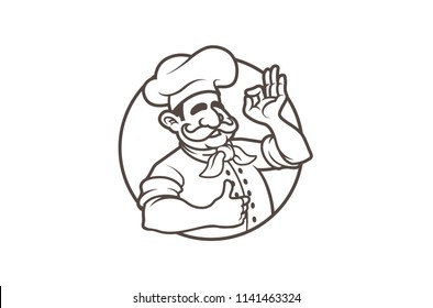 Colorful Brown Circle Chef Logo Design Illustration