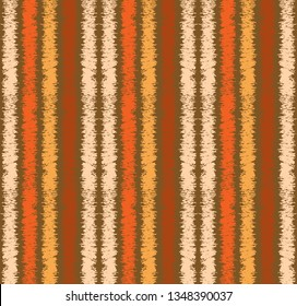 Colorful brown and orange textured grungy vertical stripes seamless repeating pattern tile for textile, fabric, wallpaper, backgrounds, print, template, covers and surface design projects.