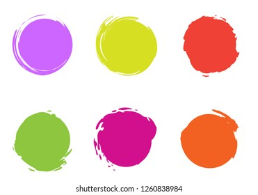 Colorful Brush Circles Vector Template. Magenta, Lilac, Orange, Red Stroke Round Shapes. Freestyle Circles Grunge Background. Original Funky Illustration with Editable Elements for Your Design.