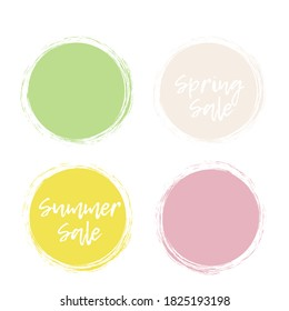 Colorful brush circles vector template. Brushed colorful labels for greetings and promotion. Sale, special offer stickers collection. Circle stamps. Textured abstract circles with place for text.