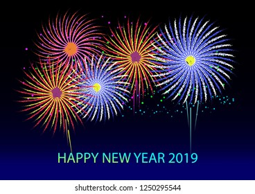 Colorful brush fireworks vector background for Happy New Year 2019.
