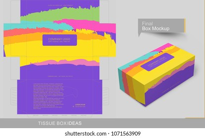 Colorful brush stroke tissue box concept, template for business purpose, place your text and Logos  and ready to go for print.