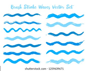 Colorful brush stroke waves vector set. Hand drawn cyan blue brushstrokes, ink splashes, watercolor splats, hand painted curls. Vector ink traces, color combinations. Summer design paint brush curves.
