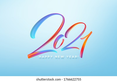 Colorful Brushstroke paint lettering calligraphy of 2021 Happy New Year background. Vector illustration EPS10