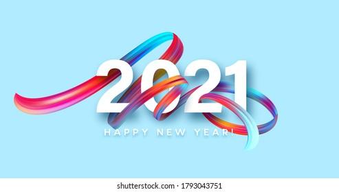 Peinture à la brosse colorée lettrant calligraphie du Nouvel An 2021. Arrière-plan écoulement de couleur. Illustration vectorielle EPS10