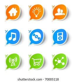 Colorful bubble icon sticker collection