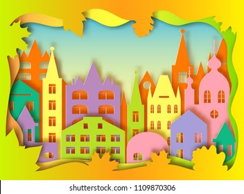 Colorful building of big city. Vector illustration. Paper art style