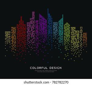 Colorful building dot design background, vector illustration