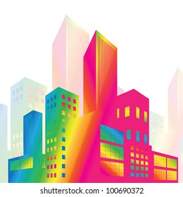 colorful buildings background vector
