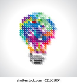colorful bulb idea with dots.