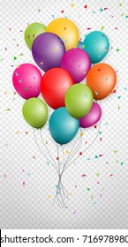 Colorful Bunch Balloons of Birthday Party and Celebrations Flying With Space for Message Isolated on Background. Design for greetings card, flyers, invitation, posters, brochure, banners, calendar.