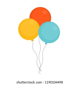 Colorful bunch of balloons for party and celebrations icon vector illustration