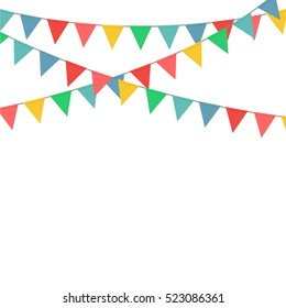 Colorful bunting flag decoration vector