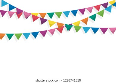 Colorful bunting flags birthday, celebration, carnival, anniversary and holiday party on white background. Vector illustration