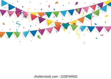 Colorful bunting flags with Confetti and ribbons for birthday, celebration, carnival, anniversary and holiday party on white background. Vector illustration
