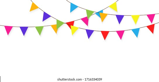 Colorful bunting and garland. Carnival garland with flags