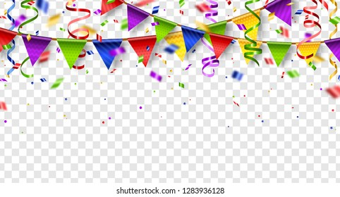Colorful buntings, serpentine and confetti isolated on transparent background. Vector illustration. Shiny border with paper decorations for holiday design