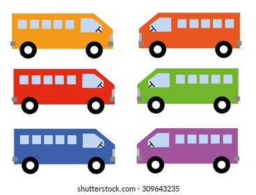 Colorful Bus Set Vector